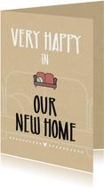 Verhuiskaarten - Verhuiskaart Very happy in our new home
