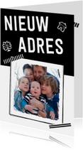 Verhuiskaarten - Verhuizing krabbels tape zwart wit eigen foto