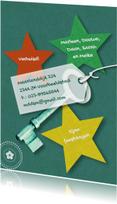 Kerstkaarten - Verhuizing sterren sleutel eigen tekst
