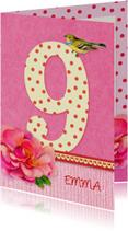 Verjaardagskaarten - Verjaardag bloem meisje 9