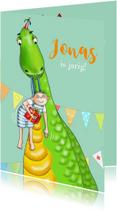 Verjaardagskaarten - Verjaardag - jarig jongetje met dinosaurus