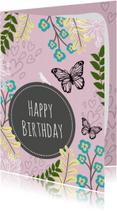 Verjaardagskaarten - Verjaardag natuur paars