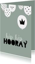 Verjaardagskaarten - Verjaardagkaart ballonnen hip hip hooray