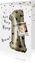 Verjaardagskaart 1 jaar ballon hartjes meisje