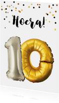 Verjaardagskaarten - Verjaardagskaart 10 jaar goud zilver ballonnen