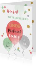 Verjaardagskaart ballonnen confetti