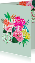 Verjaardagskaart bloemen zomer