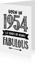 Verjaardagskaart born in 1954 - 65 years of being fabulous