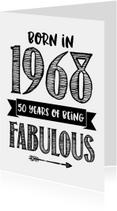 Verjaardagskaart Born in 1968