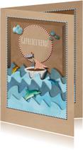 Verjaardagskaarten - Verjaardagskaart Brown Paper Box Zee