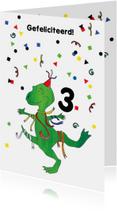 Verjaardagskaart dino slingers en confetti