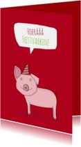 Verjaardagskaarten - Verjaardagskaart Feestvarkentje!
