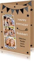 Verjaardagskaart fotocollage slinger kraft