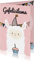 Verjaardagskaart Gefelicilama pink
