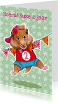 Verjaardagskaarten - verjaardagskaart hamster meisje 2 jaar