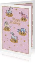 Verjaardagskaarten - Verjaardagskaart - Happy Unicorns
