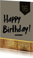 Verjaardagskaarten - Verjaardagskaart hout
