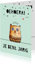Verjaardagskaarten - Verjaardagskaart illustratie uil met feesthoed