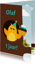 Verjaardagskaart jongen vogel in boom - DD