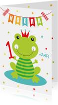 Verjaardagskaart kikker slinger confetti