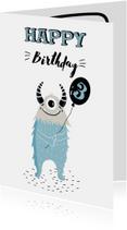 Verjaardagskaarten - Verjaardagskaart kind met monsters