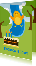 Verjaardagskaarten - Verjaardagskaart met blij oranje vogeltje van glijbaan
