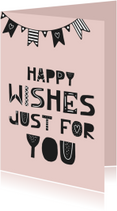Verjaardagskaarten - Verjaardagskaart slinger typografie