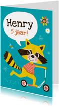 Verjaardagskaarten - Verjaardagskaart step wasbeer