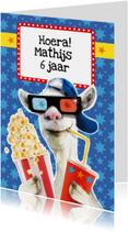 Verjaardagskaarten - verjaardagskaart stoere geit popcorn