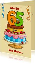 Verjaardagskaart taart met aanpasbare cijfers 65