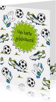 Verjaardagskaart voetbal gras