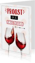 Verjaardagskaart wijn stippen