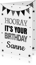 Verjaardagskaart zwart wit slinger confetti