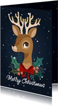 Vrolijke kerstkaart met rendier en versiering