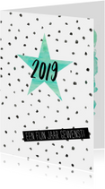 Waterverf nieuwjaarskaart met stippen en ster
