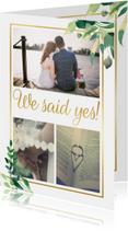 We said yes! Trouwkaart Stijlvol wit met goud