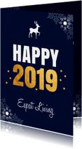Zakelijke nieuwjaarskaart donkerblauw sneeuwvlokken goud