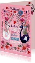 Zwanen verjaardag bloemenkaart
