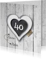 40 jarig huwelijks jubileumkaart - hart