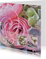 Jubileumkaarten - 50 jaar getrouwd ranonkel roze
