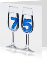 Verjaardagskaarten - 75 in champagne glazen met bubbels