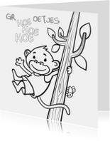 Kleurplaat kaarten - aapje in boom