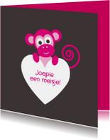 Felicitatiekaarten - Aapje met hartje, roze