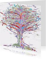 Kunstkaarten - Abstracte boom in onstuimig weer