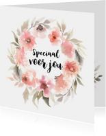 Bloemenkaarten - Aquarel kaart bloemenkrans in pastel tinten