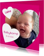 babyborrel met hart roze
