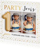 Ballon 1 jaar foto goud confetti uitnodiging kinderfeestje