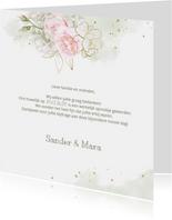 Bedankkaart roze rozen met goud