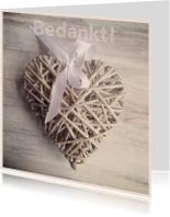 Trouwkaarten - Bedankkaart trouwen hart riet