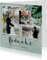 Bedankkaartje bruiloft stijlvol botanisch met fotocollage
